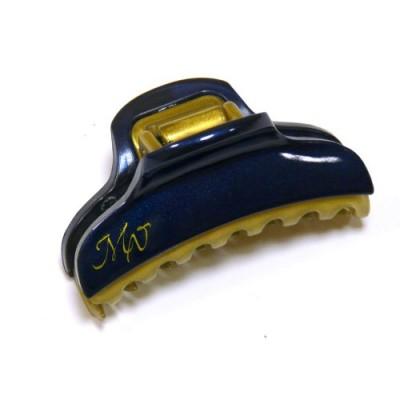 """Заколка  для волос """"Краб""""    ,  французская , AKCENT,   NK938-1138dnv60, синий  с золотом"""