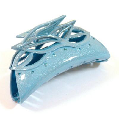 "Заколка ""Краб"", французский пластик с кристаллами, Акцент, K733-258c-st16, голубой"