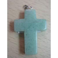 Кулон  в виде креста - авантюрин зеленый,  натуральный камень