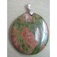 Кулон  из зеленой яшмы - унакит, натуральный камень