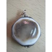 Кулон агат глазковый, серо-бело-черный, натуральный камень
