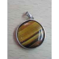 Кулон  круглый- тигровый глаз, натуральный камень