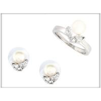 Набор - серьги  и кольцо -ювелирная бижутерия Blue Dolphin, код. 8211