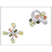 Набор - кольцо, подвеска, с салатовыми, зелеными и коричневыми кристаллами Swarovski,  ювелирная бижутерия,  Blue Dolphin, R 61115