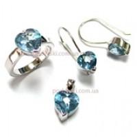 Набор - серьги, подвеска, кольцо  - ювелирная бижутерия Blue Dolphin, код. 70567