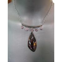 Ожерелье  серебристое с  крупным  и мелкими фиолетовыми камнями