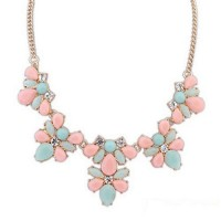 Колье - Ожерелье  с камнями розового и голубого цвета