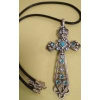 Подвеска Крест  серебристая с бирюзой и голубыми  кристаллами на  черном кожаном шнурке