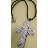 Подвеска Крест  серебристая с белым кварцем на  черном кожаном шнурке