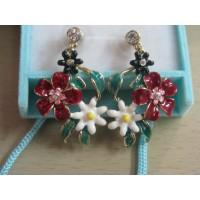 Серьги   с емалью  - Яркие цветы