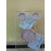 Набор - серьги  и подвеска - ювелирная бижутерия Blue Dolphin, код. 63540, розовй кварц