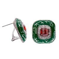 Серьги  с зеленой эмалью и красными  и белыми камнями Swarovski, ювелирная бижутерия Blue Dolphin - Е64140