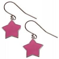 """Серьги  """"Розовые звездочки"""" с емалью, ювелирная бижутерия, Blue Dolphin,  E64091"""