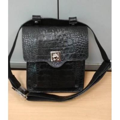 Черная сумка на пояс, через плечо из натуральной кожи