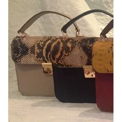 Женская кожаная сумка, бренд Karla Moon,  бежевая с цветным клапаном принт под змею