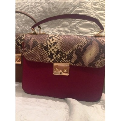 Женская кожаная сумка, бренд Karla Moon,  бордо  с цветным клапаном принт под змею