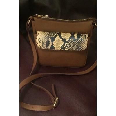 Женская кожаная сумка через плечо, бренд Karla Moon,  коричневая  с  ярким  принтом под змею