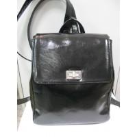 Шикарный рюкзак кожаный  лаковый, цвет - черный, кожа натуральная лаковая